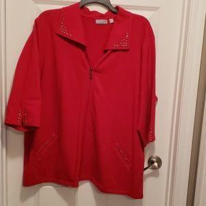 Red zip up 3/4 length sleeve sweatshrt w/metal det